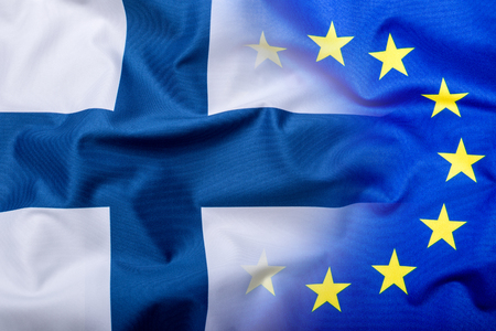 Flags of the Finland and the European Union. Finland Flag and EU Flag. World flag money concept. Stock Photo