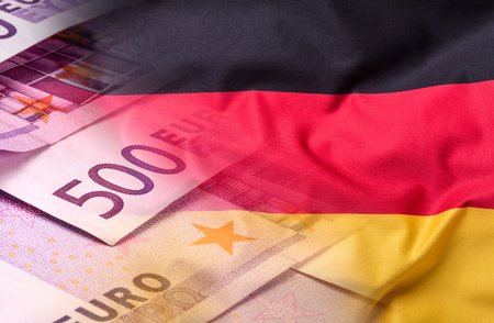 goverment: Flags of the Germany and the European Union. Germany Flag and EU Flag. World flag money concept.