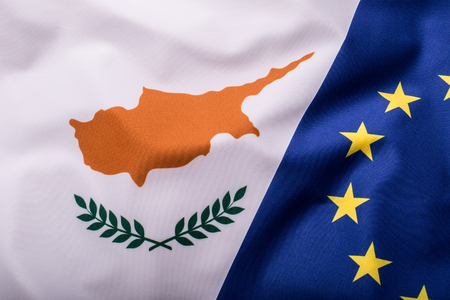 Flags of the Cyprus and the European Union. Cyprus Flag and EU Flag. World flag money concept. Stock Photo