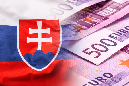 slovak: Flags of the Slovak Republic and the European Union. Slovak republic  Flag and EU Flag. World flag money concept. Stock Photo