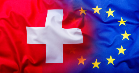 helvetia: Flags of the Finland and the European Union. Finland Flag and EU Flag. World flag money concept. Stock Photo