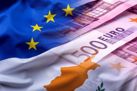the european economic community: Flags of the Cyprus and the European Union. Cyprus Flag and EU Flag. World flag money concept. Stock Photo