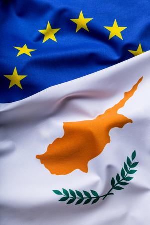 european economic community: Flags of the Cyprus and the European Union. Cyprus Flag and EU Flag. World flag money concept. Stock Photo