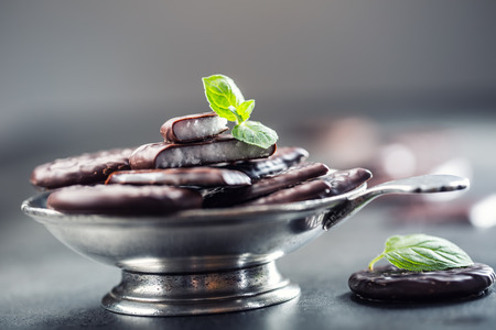 menthol: Chocolate peppermint cookies.Mint. Peppermint. Menthol. Black chocolate with peppermint cream. Black chocolate with mint stuffing. Menthol chocolate with mint leaves. Toned images.