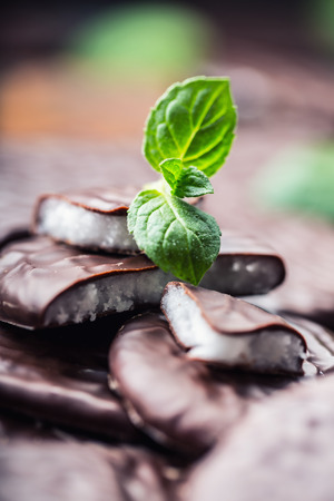 peppermint cream: Chocolate peppermint cookies.Mint. Peppermint. Menthol. Black chocolate with peppermint cream. Black chocolate with mint stuffing. Menthol chocolate with mint leaves. Toned images.