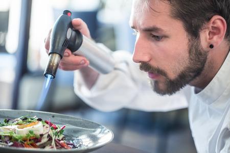 Chef preparing food. Cook flamed using Flambé gun pistol. Chef flambe vegetable salad with goat cheese. Gourmet cuisine. Banco de Imagens