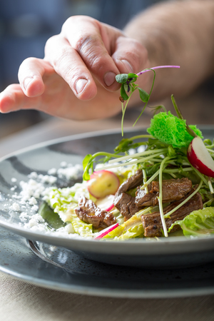 finishing: Chef in hotel or restaurant kitchen cooking, only hands. He is working on the micro herb decoration. Preparing vegetable salad with pieces of grilled chicken  meat - virgin sirloin. Stock Photo