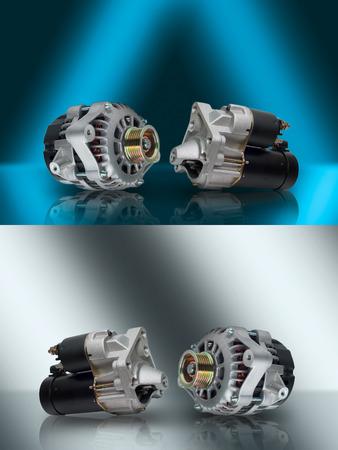 Generator. Anlasser. Generator und Starter. Auto-Aggregate. Generator und Anlasser für Auto. Elektrische Geräte für Auto. Autoteile. Zusammensetzung der beiden elektrischen Teile für den Motor.