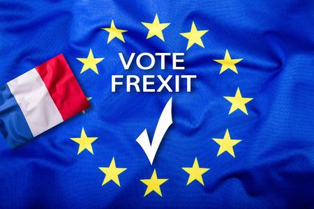 separatism: Frexit. France Exit from EU European Union. France flag Eu Flag. Stock Photo