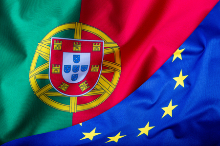 lymphoma: Flags of the Portugal and the European Union. Portugal Flag and EU Flag. World flag money concept. Stock Photo