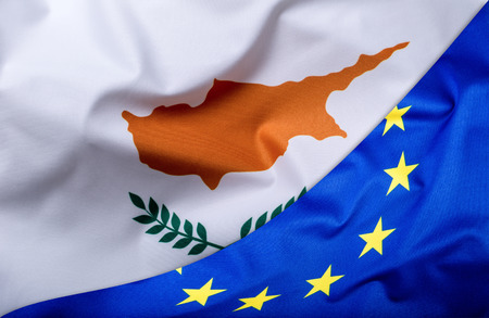 lymphoma: Flags of the Cyprus and the European Union. Cyprus Flag and EU Flag. World flag money concept. Stock Photo