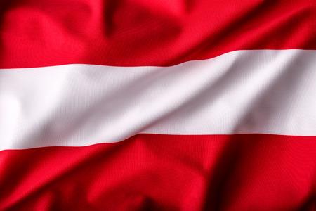 austria flag: Austria flag waving in the wind. Stock Photo