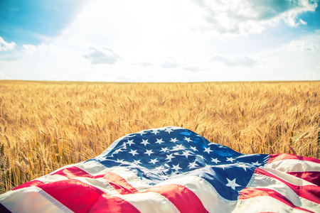 USA American flag lies on the golden wheat field. Toned Image. Banco de Imagens - 60702092