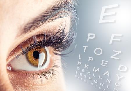 Close-up of womans eye. macro beautiful female eye.Alphabetical eye test