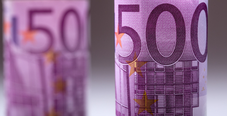 Euro banknotes. Five hundred euro banknotes.Toned Photo. Stock Photo