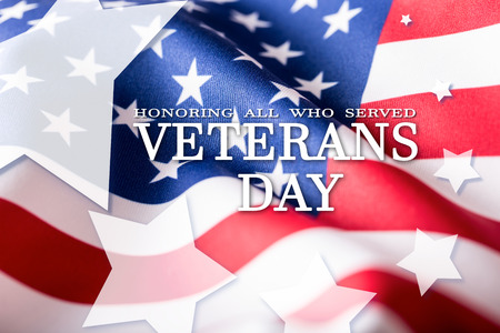 USA flag. American flag. Veterans Day. Honoring all who served. Usa flag on background. Stars. Stock Photo