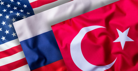 Turkey russia and USA Flags. Collage of world flags.