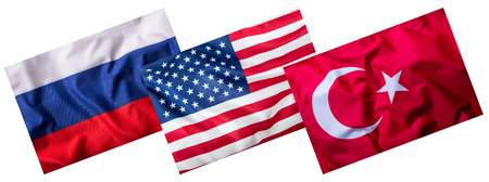 world flags: Turkey russia and USA Flags isolated on white. Collage of world flags.