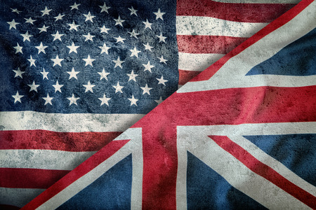 Mixed Flags of the USA and the UK. Union Jack flag.Flags of the USA and the UK Divided Diagonally.