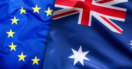 world flags: Flags of the Australia and the European Union. Australia Flag and EU Flag. World flag concept Stock Photo
