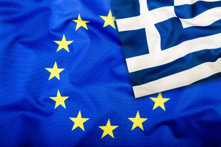 Flags of the Greece and the European Union. Greece Flag and EU Flag. Flag inside stars. World flag concept.