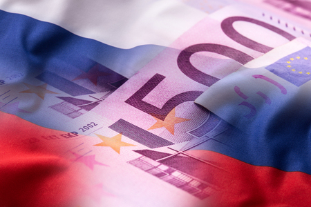 Flags of the Russia and euro banknotes. Stock Photo