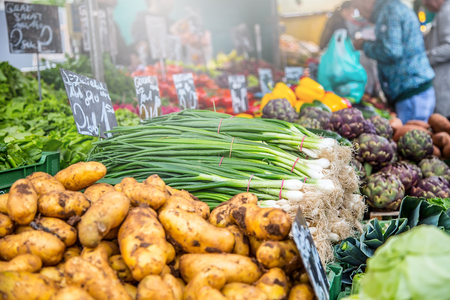 pike place: Vegetable stand at traditional market in Vienna,Austria. Fruits and vegetables at a farmers market.