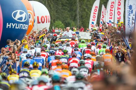 Tatranska Bukowina, Poland. AUGUST 4. 2017: Czeslaw Lang Director of  74. Tour de Pologne starting last 7. stage. biên tập