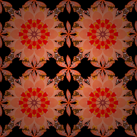 A Seamless floral pattern can be used for sketch, website background, wrapping paper. Leaf natural pattern in orange, black, red and pink colors. Summer design. Vector flower concept.