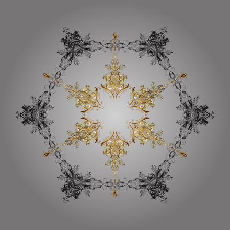 Snowflake ornamental pattern. Snowflakes background. Snowflakes pattern. Vector illustration. Flat design with abstract snowflakes isolated on gray background.