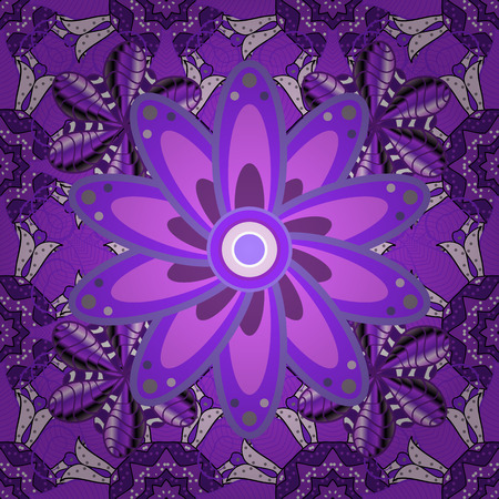 Elegant seamless pattern with decorative flowers in violet, neutral, purple colors. Vector floral pattern for wedding invitations, greeting cards, print, gift wrap, manufacturing fabric and textile. Illustration