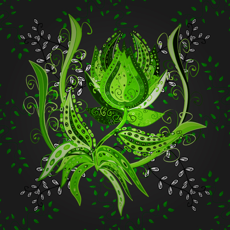 A Seamless floral pattern can be used for sketch, website background, wrapping paper. Leaf natural pattern in gray, green and black colors. Summer design. Vector flower concept.