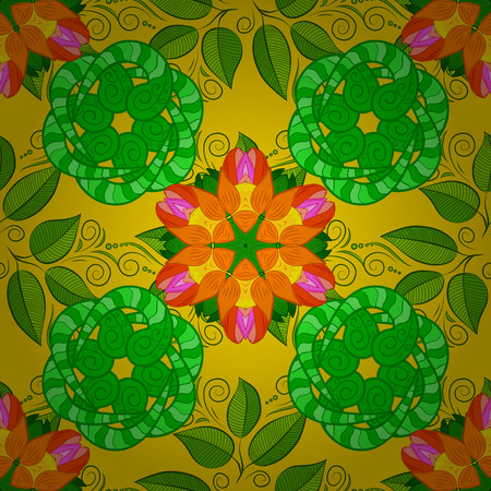 Pretty vintage feedsack pattern in small yellow, green and orange flowers. Floral sweet seamless background for textile, fabric, covers, sketchs, print, wrap, scrapbooking, quilting, decoupage.