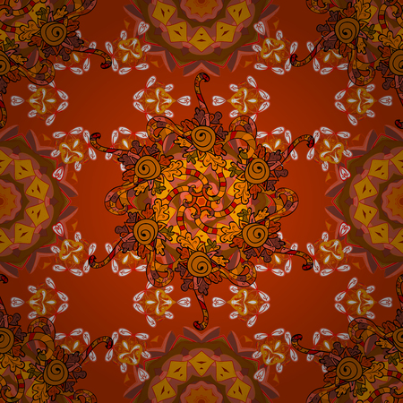 Trendy seamless floral pattern. Vector illustration with many orange, brown and yellow flowers.