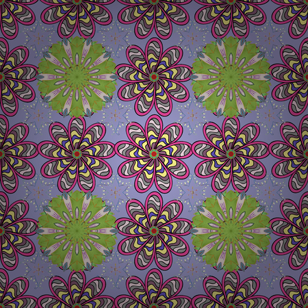 A Seamless floral pattern. Vector abstract floral background. Seamless pattern with many small neutral, green and pink flowers. Illustration