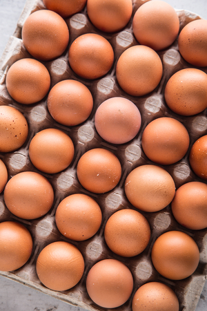 Chicken eggs. Thirty chicken eggs in box on table. Stock Photo