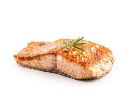 Salmon. Salmon roast steakisolated on white background. Foto de archivo