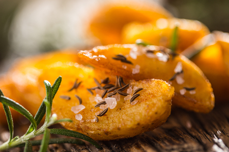 Potatoes. Roasted american potatoes with rosemary salt and cumin.