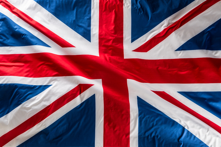 Closeup of Union Jack flag. UK Flag. British Union Jack flag blowing in the wind