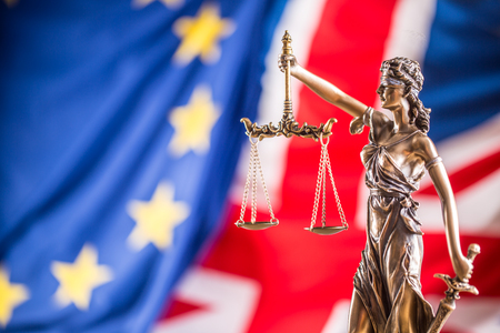 Lady Justice european union and United Kingdom flag. Symbol of law and justice with EU and UK Flag. Brexit.