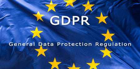 European Union flag with text GDPR -  General Data Protection Regulation. Stock fotó