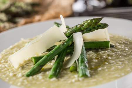 Tasty mediterranean meal risotto with asparagus.