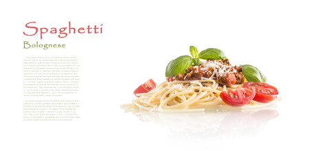 Spaghetti bolognese basil tomatoes and parmesan cheese isolated on white.
