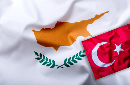 Flags of the Turkey and Cyprus - Studio shot.