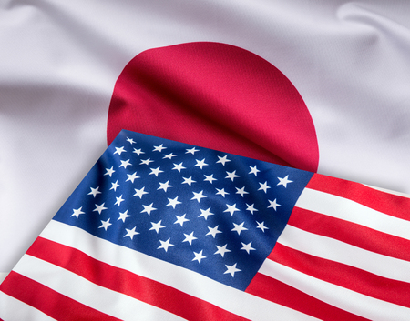 Flags of United states of america and japan flag together. Stock Photo