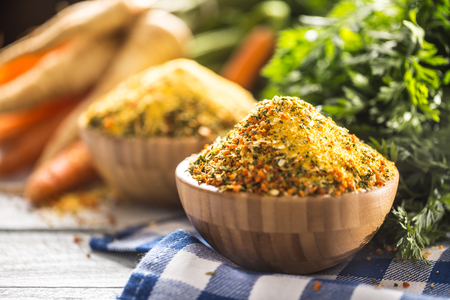 Seasoning spices condiment vegeta from dehydrated carrot parsley celery parsnips and salt with or without glutamate.