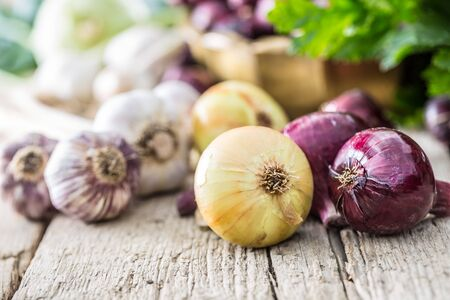Red onion in bronze bowl garlic celery herbs and kohlrabi on garden table - Top of view. Close-up fresh healthy vegetable.
