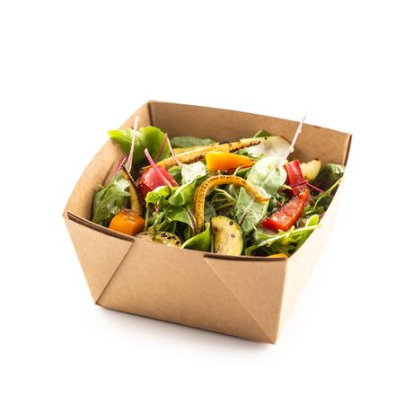 Japanese asian meal in a box of recycled paper isolated on white background. Concept of organic food packaging.