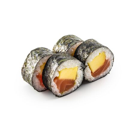 Sushi Maki different types isolated on white background.