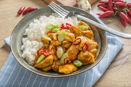 Arroz con pollo al curry y cebolla tierna en un tazón.